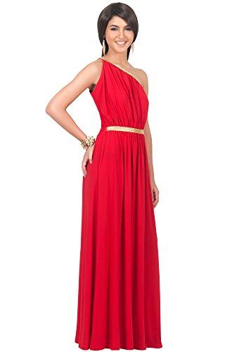 KOH KOH® Femmes Robe Longue Cocktail Epaule Nue avec Tresses en Or Rouge