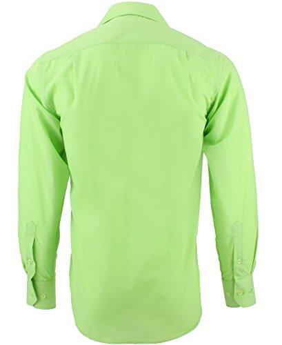 ENZO Camicia Uomo Classica Regular Fit Confortevole e Elegante con Maniche Lunghe da S a XXL Popeline verde