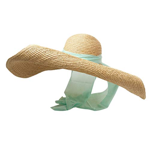 Lace Trim Silk Blouse (Womens Sun Straw Hat Wide Brim UPF 50 Summer Hat Foldable Roll up Floppy Beach Hats for Women White,Black,Coffee,Pink,Green)