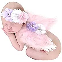 Baby fotográfico fotografía Shooting Disfraz recién nacidos Requisiten alas de ángel alas Outfits con sombrero