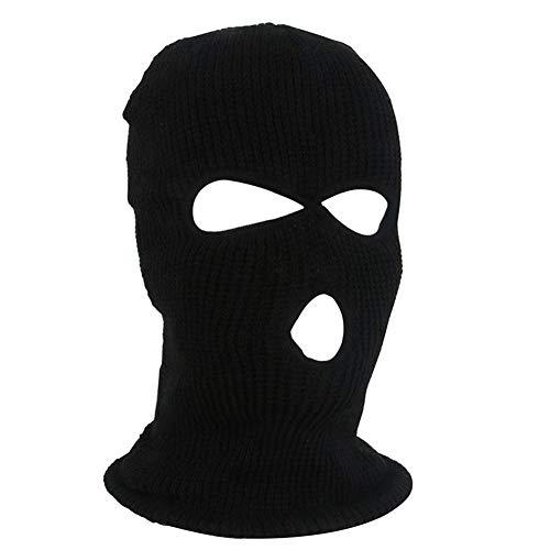 supertop Gesichtsschutz DREI-Loch-Strickmütze mit Vollmaske Winter Stretch Schneemaske Thermal Ski Maske Warm Gesichtsmasken für Skifahren, Snowboarden, Motorradfahren Knit Wind Jacke