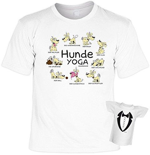 Fun T-Shirt Hunde Yoga Shirt bedruckt Geschenk Set mit Mini Flaschenshirt Weiß