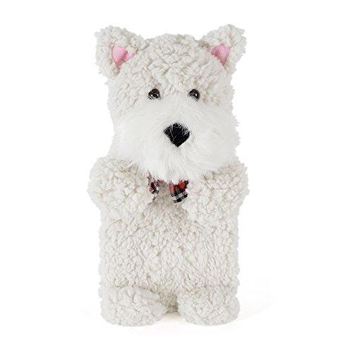 Wärmflasche Tier Babywärmflasche mit Bezug Wärmflaschenbezug Flauschig Hund Einhorn Fashy Bettflasche 750 ml (WeissHund)