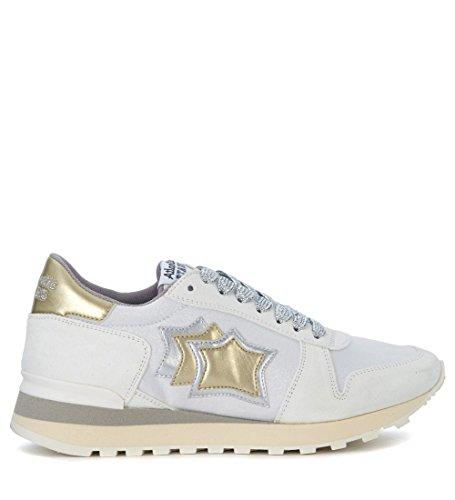 Atlantic Stars Sneaker Alhena in Pelle Bianca, Oro e Argento Bianco