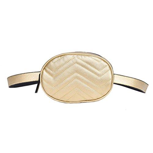 VJGOAL Damen Bauchtasche, Damen Mode Solide Reine Farbe Leder Messenger Schulter Urlaub Arbeit Brust kleine Taschen (Gold)