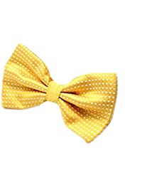 Golden Yellow & White Polka Dot Mens Stylish 2 Layer Bow Tie With Adjustable Strap