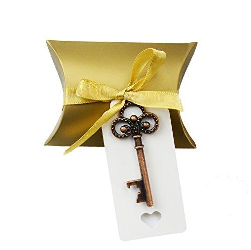 Makhry Geschenkschachtel für kleine Hochzeitsandenken, Hochzeitssouvenir, Vintage-Stil, Schlüssel-Flaschenöffner, mit Kärtchen und Band, 50 Stück kupfer (Antike Flasche Party Favor)