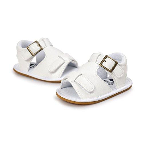 kingko® Gürtelschnalle Leder Kuh Sehne Junge Gummi harte Sandalen Weiß