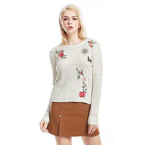 ZYCCL Damen Pullover, Große, Leichte, Schlanke Strickhemd Blumenstickerei Pullover Frauen -