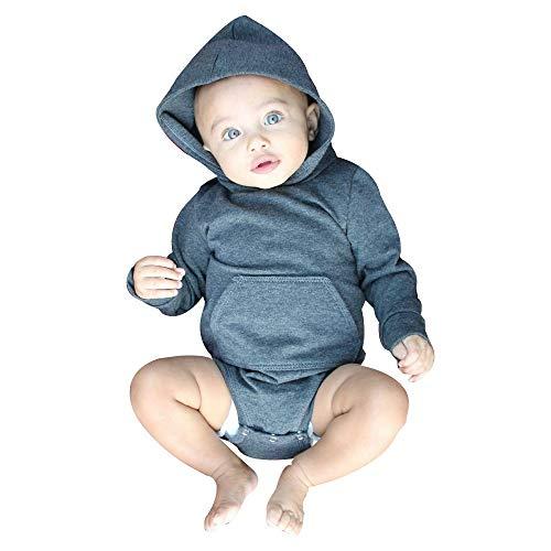 Dtuta Bekleidungssets FüR Baby-Jungen Einfarbig Schmutzabweisend LangäRmelige Kapuze Knopf Stretch Tasche Crawler Jumpsuit Body Weiche Und Bequeme Sportbekleidung