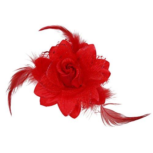 Prettyia Pince à Cheveux Fleur Rose Motif Ornement de Cheveux Cadeau Saint-valentin - Rouge