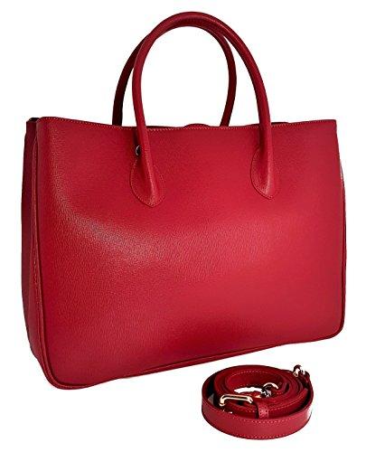 """Handgefertigte Rote Tasche (Winter & Co. Daybag """"L"""" Damen Handtasche Umhänge-tasche Business-tasche groß aus edlem Leder handgefertigt in Italien mit toller Innenaufteilung elegant und funktional (rot))"""
