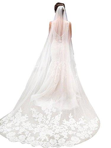 Velo de Novia para mujer Larga Encaje Accesorios nupciales de boda (Blanco (2capas))