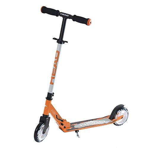 HEAD - Aluminium Scooter inkl. Hinterradbremse I Kickscooter I klappbar I Tretroller I Cityroller I höhenverstellbar I Kinder- & Erwachsenen-Scooter I inkl. Ständer - Schwarz/Orange