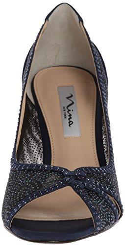 Nina fresh bout ouvert femme-pM escarpins chaussures textile Bleu - New Navy
