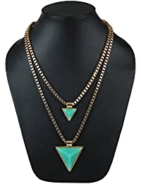 AMNOR Green Layered Triangle Drop Gold Collar Chain Necklace & Pendant