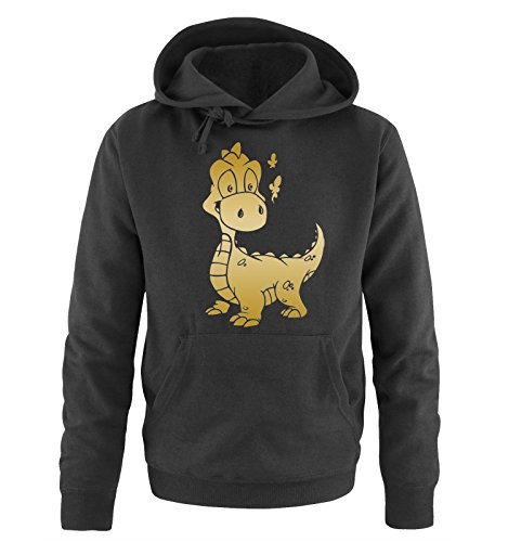 Comedy Shirts - LITTLE DINO - Uomo Hoodie cappuccio sweater - taglia S-XXL different colors nero / oro
