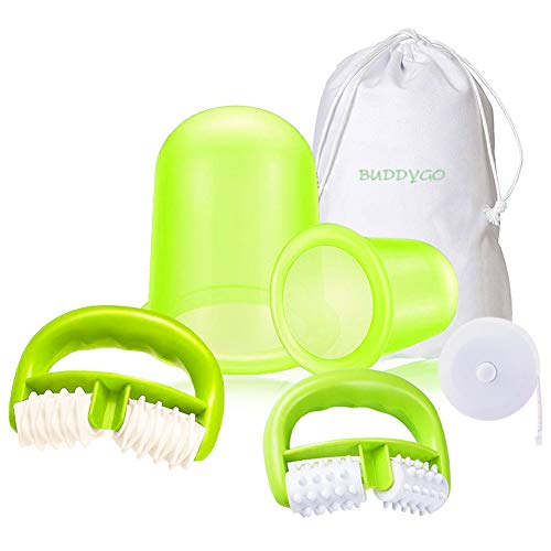 Coppetta Anticellulite, Massaggiatore Anticellulite, BUDDYGO 4PCS Kit Anticellulite, Set Trattamento Anti Cellulite, Eliminare le Tossine per Ridurre Efficace la Cellulite