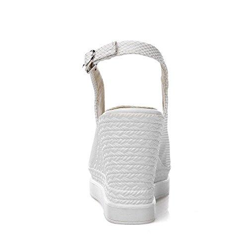 AgooLar Femme Boucle Ouverture Petite à Talon Haut Matière Souple Couleur Unie Sandales Blanc