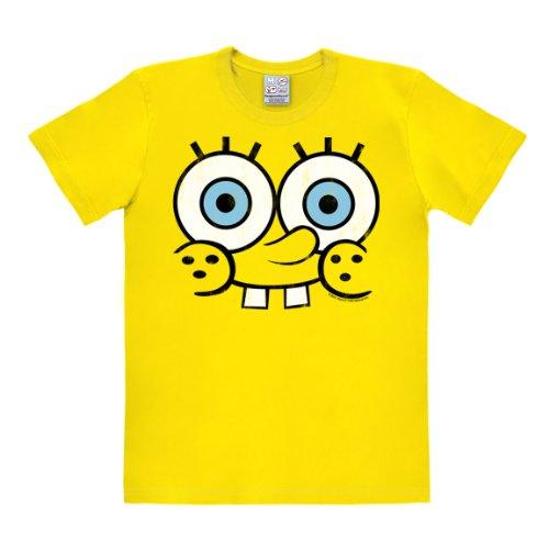 Spongebob Patrick Kostüm (T-Shirt Schwammkopf - Face - Spongebob - Rundhals T-Shirt von Logoshirt - gelb - Lizenziertes Originaldesign, Größe)