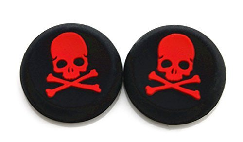 Vivi Audio Daumen Stick Griff Gap Cover Joystick Thumbsticks Kappen für PS4 Xbox One Xbox 360 PS3 PS2 Red Skull
