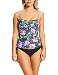 Zoggs Women's Mystique Padded Foam Cup and Adjustable Strap Tankini Top