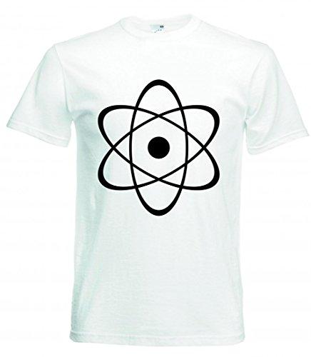 """T-Shirt """"ATOMKERN- KERNENERGIE- RADIOAKTIVITÄT- KERNSPALTUNG- ORBITALE- NEUTRONEN- SYMBOL- ZENTRUM- ATOMAR- ATO- RADIOAKTIV"""" in Weiss für Herren- Damen- Kinder- 104- 5XL"""
