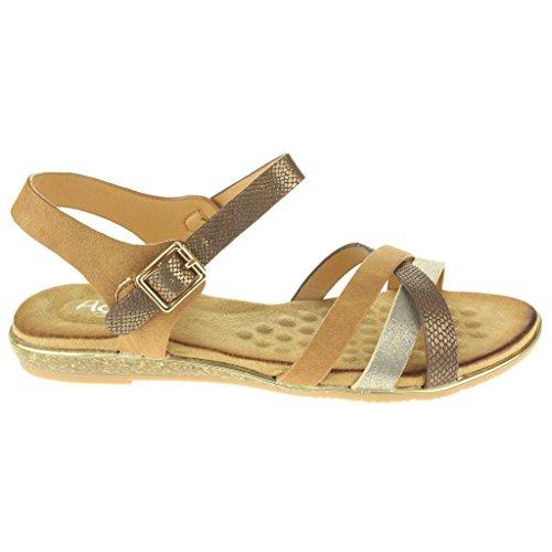 Femmes Dames Étourdissant Plage Rapide à boucle Open Toe Été Casual Confort Plat Sandales Chaussures Taille Chameau