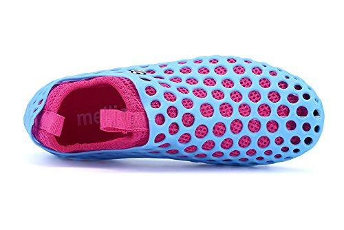 Superleichte Wassersportschuhe Liebspaar Zweiteilige Crocs Strandschuhe Schnelltrockende Wasserschuhe Badeschuhe für Damen und Herren Hellblau und Rosa