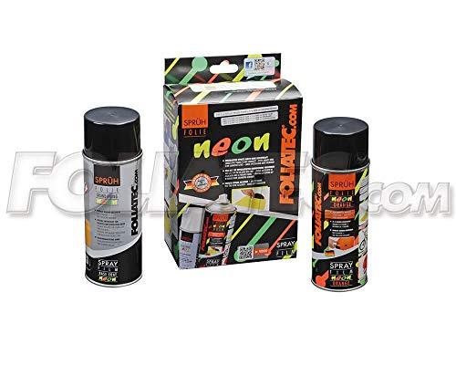 Foliatec 2098 pellicola spray, 1 x 400 ml e 1 x 400 ml fondo, arancione fosforescente