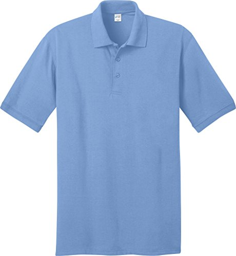 Port & Company Herren bequemes Halsband Knit Polo Jersey Hellblau