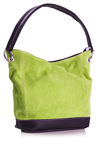 Big Handbag Shop - borsa con manico in vera pelle scamosciata italiana, con finiture in similpelle Lime Green (HR657)