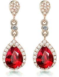 9602c7ffa5c8 AMDXD Joyería Aretes para Mujer Oro de 18K Rojo Corazón Natural ...
