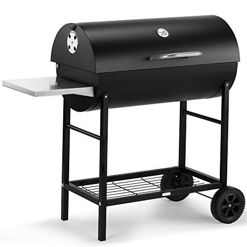 VonHaus Charcoal Barrel BBQ & Smoker with Temperature Gauge � 105cm Steel Barbecue Grill with Side Table