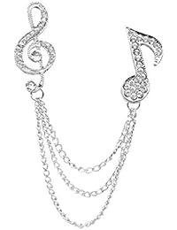 Desconocido Cristal Broche de Insignias de Solapa Cuello Símbolo de Música Regalo Unisex Punta Color Plata