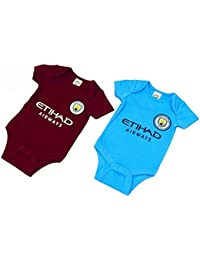Official Manchester City Baby Core Kit 2 Pack Bodysuits - 2017/18 Season (0-3 months)