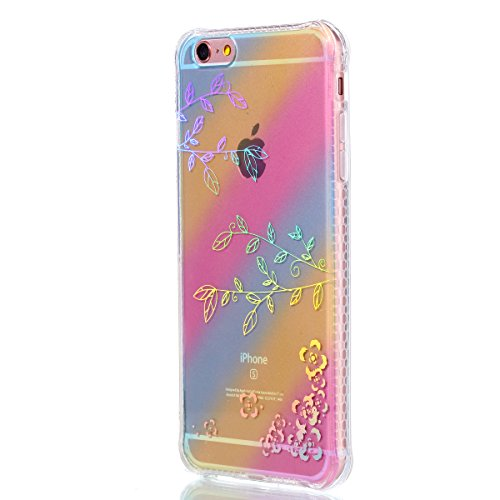 Felfy Coque Pour iPhone 6 Plus,iPhone 6S Plus Coque en Silicone Transparent,iPhone 6S Plus Etui Ultra Mince Slim Silicone Cristal Clair Etui Smile Motif Housse Soft Case Gel Protective Cover Flexible  Motif de Plumes
