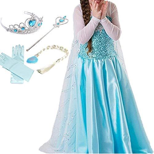 YOGLY Mädchen Prinzessin Elsa Kleid Kostüm Eisprinzessin Set aus Diadem, Handschuhe, Zauberstab, Größe 120,  05 Kleid und Zubehör