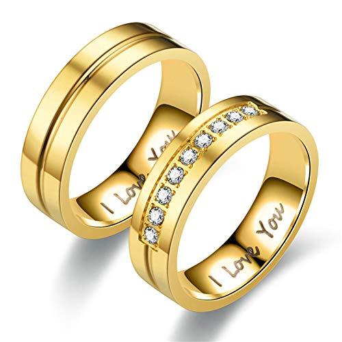 Amody Hochzeitsringe Partnerringe 6MM Goldring mit Gravurm Zirkonia I Love You Romantic Paare Versprechen Verlobung Hochzeitsring für Liebhaber Frauen 60 (19.1) Männer 57 (18.1) (Ring Stein Blau Gold Männer Für 14k)