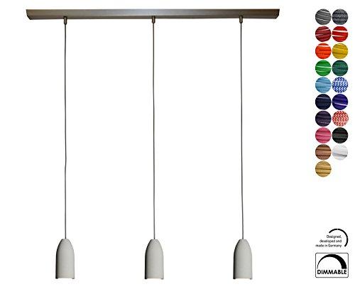 Hänge-Lampe 3-Flammig Dimmbar, Textilkabel Grau (19 Farben), Deckenleuchte, Pendel-Leuchte Rund, E27 Led, Esszimmer, 3er Hänge-Leuchte Esstisch groß, Esszimmerlampe, Pendellampe Deckenlampe (Küche Pendel-leuchten)