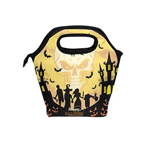 hunihuni Retro Happy Halloween Isolierte Thermo-Lunch-Kühltasche Tote Bento-Box Handtasche Lunchbox mit Reißverschluss für Schule, Büro, Picknick