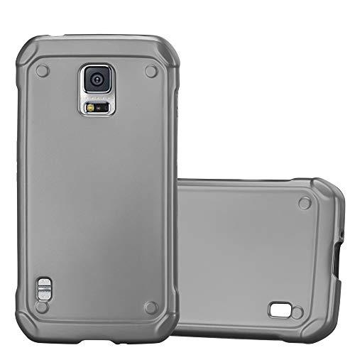Cadorabo Hülle für Samsung Galaxy S5 Active - Hülle in METALLIC GRAU - Handyhülle aus TPU Silikon im Matt Metallic Design - Silikonhülle Schutzhülle Ultra Slim Soft Back Cover Case Bumper (Galaxy Active S5 Für Skin)