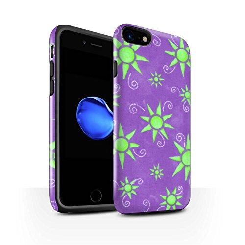 STUFF4 Glanz Harten Stoßfest Hülle / Case für Apple iPhone 8 / Lila/Weiß Muster / Sonnenschein Muster Kollektion Lila/Grün