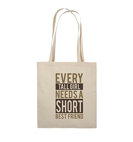 Comedy Bags - Every tall girl needs a short best friend - Jutebeutel - lange Henkel - 38x42cm - Farbe: Schwarz / Weiss-Neongrün Natural / Hellbraun-Dunkelbraun