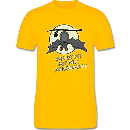 Sprüche - Fledermaus - willst du mit mir abhängen ? - Herren Premium T-Shirt Gelb