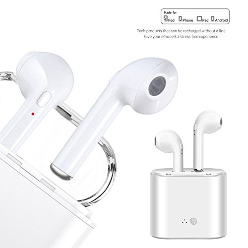 1 Paar Bluetooth Kopfhörer, KOBWA TWS Drahtlose Ohrhörer Stereo Rauschunterdrückung Im Ohr Schnurlose Ohrhörer mit integriertem Mikrofon und Ladekoffer für iPhone und Android Smartphones, Weiß