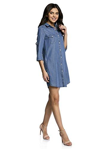 oodji Ultra Femme Robe-Chemise en Lyocell Bleu (7500W)