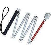 Aluminio Baston Blanco para Ciegos y Baja Vision Plegable, 7 Secciones (Mango de Negro, 140 cm (55 Pulgada))