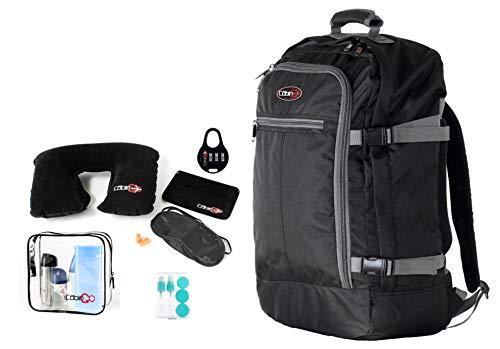 Cabin GO Zaino cod. MAX 5540 bagaglio a mano/cabina da viaggio, 55 x 40 x 20 cm, 44 litri approvato volo IATA/EasyJet/Ryanair, Nero/Grigio