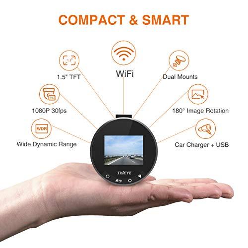 41AuA6LMLrL - Thieye Cámara de Coche WiFi Dash CAM 1080P Full HD 170 Ángulo con WDR G-Sensor, Detección de Movimiento, Grabación en Bucle, Visión Nocturna, Monitor de Aparcamiente